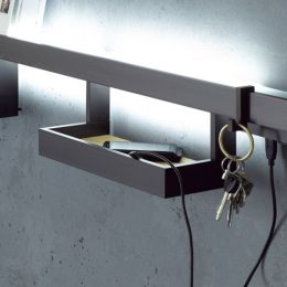 GERA Leuchten Ablage kurz mit Holz für Lichtreling mit Glasablage