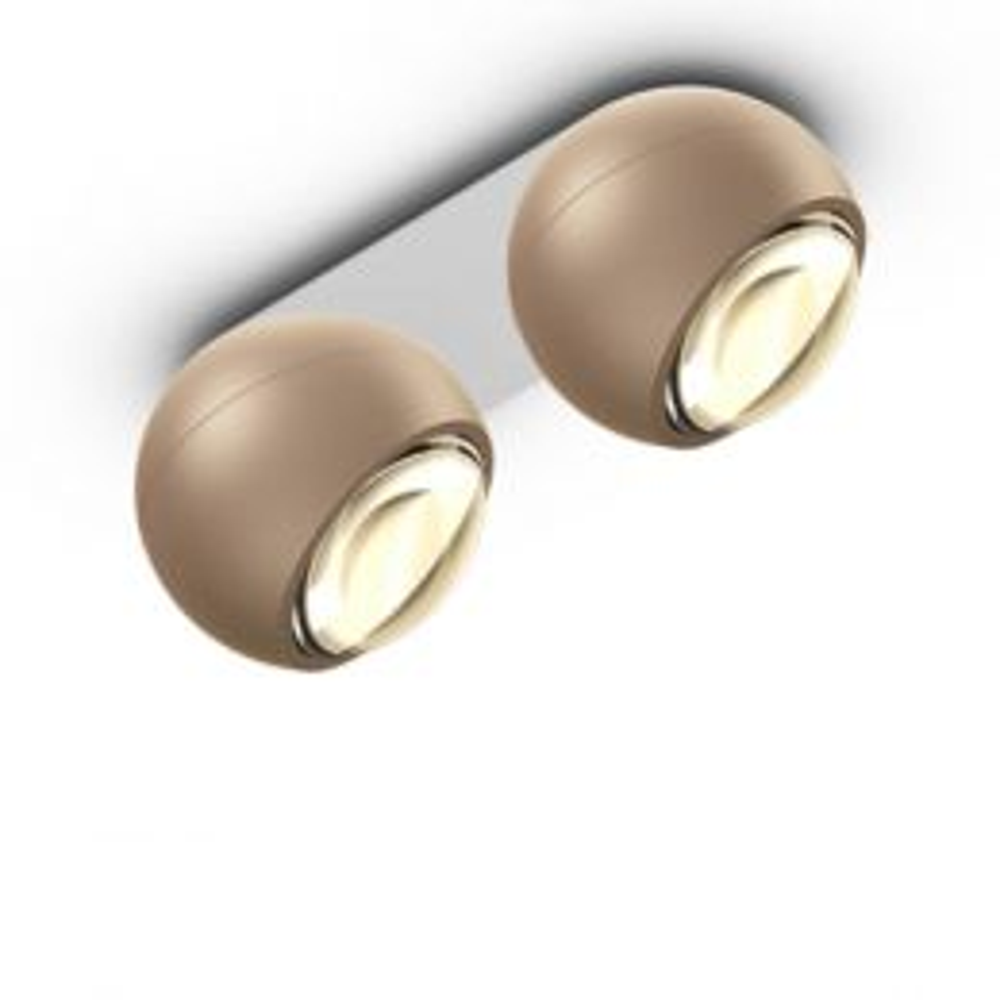 Occhio Io Giro Doppio Volt LED-Deckenstrahler-Weiß/Gold; mit LED (3000K)