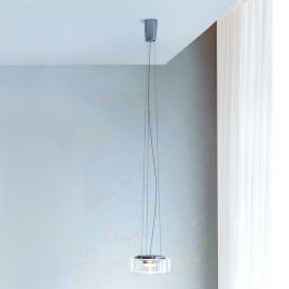 Curling Suspension LED, small klar mit konischem Schirm